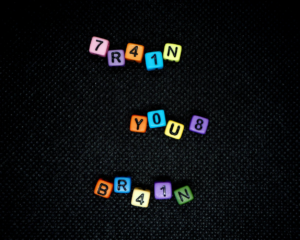 image of letter cubes spelling out brain health